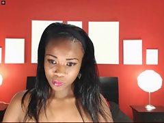 black lass demonstrates bum for webcam