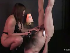 Sensual Mistress helps her slave cum and drink his spunk