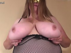 Obese Huge breasted cheating wife mama playing alone