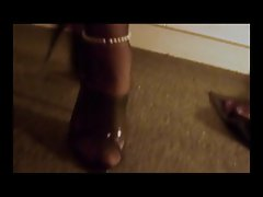 Nylon Stockings Crossdresser cock sucking cum on heels