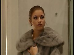 Lewd Trio with italian fur Lady in a toilet