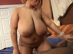 Beauteous Ebony N' Big titted Lady Snow getting Rammed