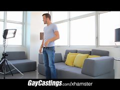 GayCastings Blue Eyed fellows gets stabbed by casting couch coc