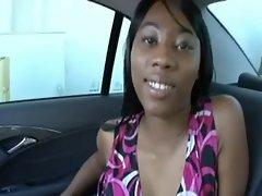 Lewd slutty ebony drilled by white cocki on the backseat of a car