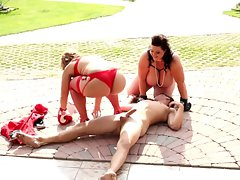 Nice looking BBWs discipline their submissive slave